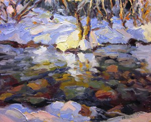 """""""Spring Creek in Snow"""" Painting by Ben Haggett From pinterest.com"""